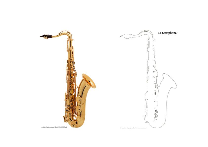 Le saxophone dessin coloriage des instruments de musique - Dessin saxophone ...