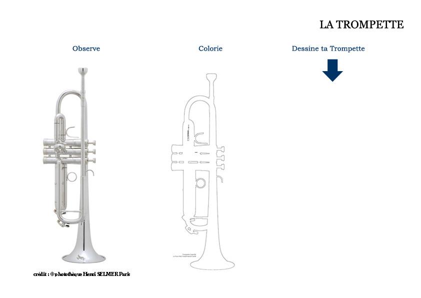 Coloriage Facile Pour Tout Petit.Dessin De Trompette Coloriage Trompette Dessin Musique