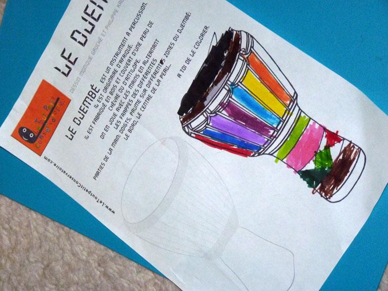 Coloriage du djemb dessin de djemb dessin musique - Coloriage tout petit ...