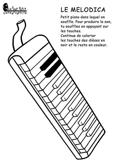Coloriage du melodica dessin instrument de musique - Coloriage piano ...