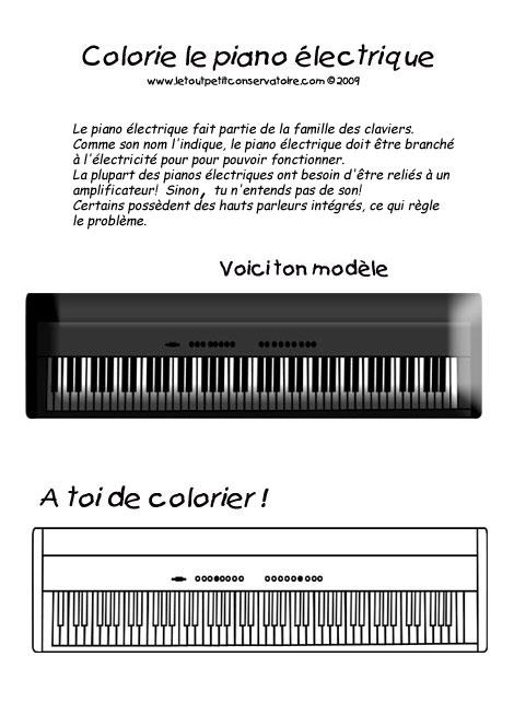 Dessin De Piano piano électrique. dessiner le piano, eveil musical, coloriage musique
