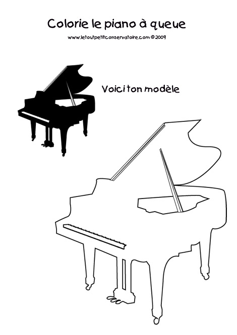 Comment dessiner un piano - Coloriage piano ...