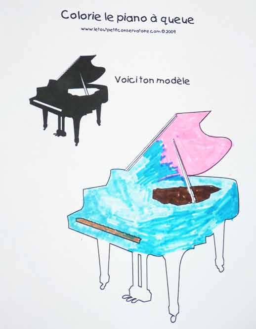 Piano queue dessin coloriage du piano veil musical - Coloriage piano ...