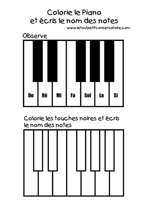 coloriage dessin du clavier piano eveil musical par le pictures. Black Bedroom Furniture Sets. Home Design Ideas