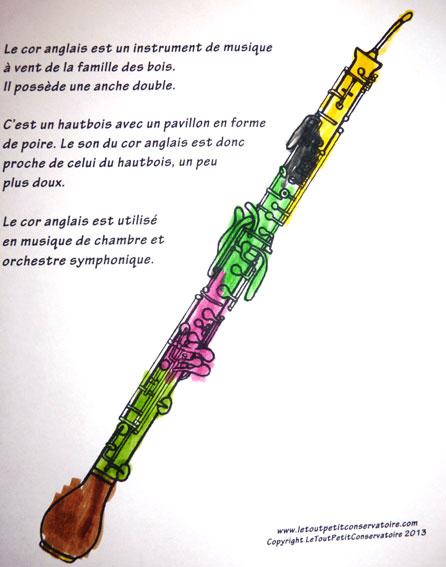 Souvent Coloriage, dessin du cor anglais, eveil musical ludique PV18