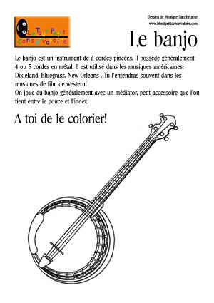 Coloriage du banjo instrument de musique cordes - Dessiner un violon ...