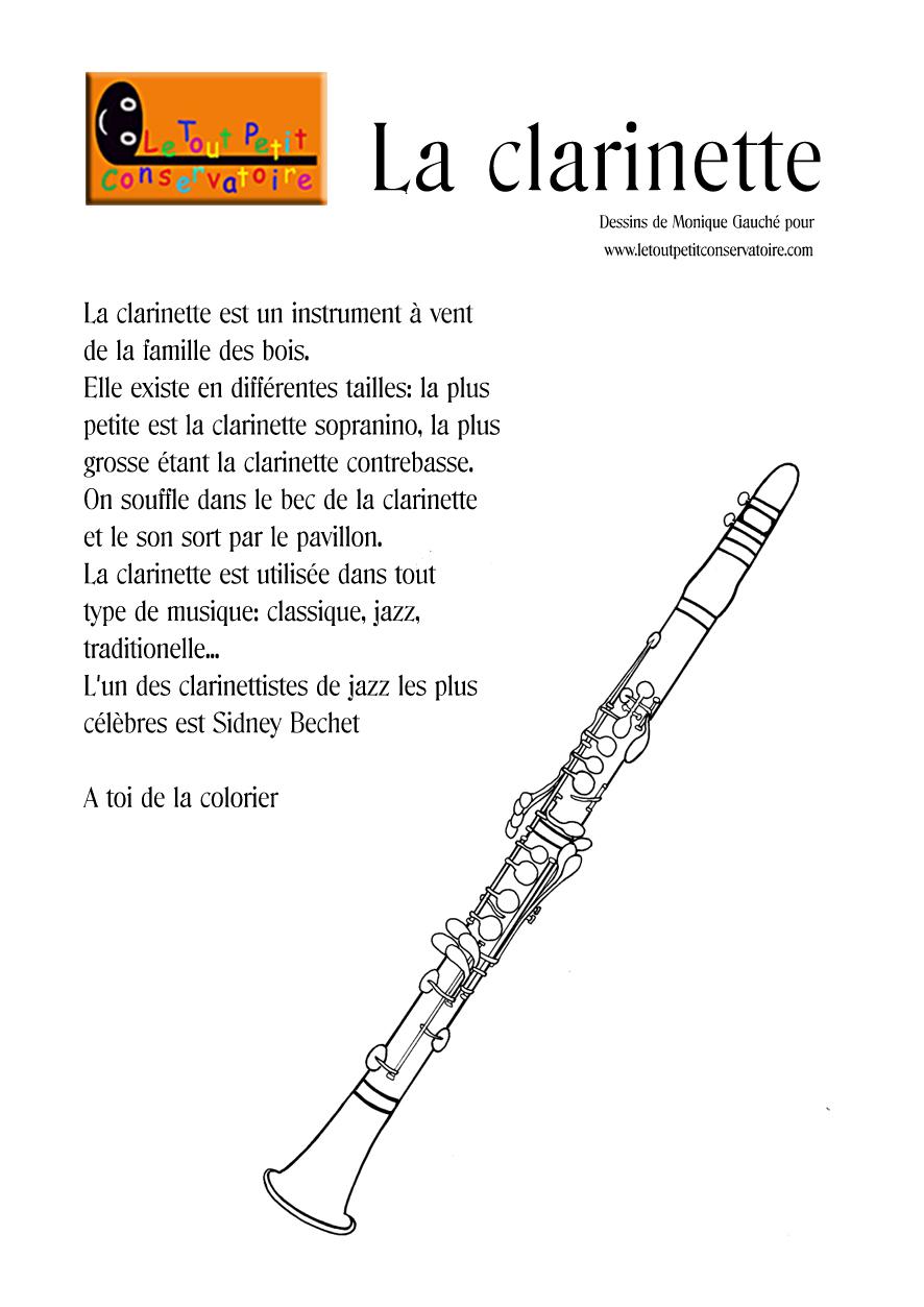 Dessin de clarinette coloriage de clarinette instrument de musique vent - Image instrument de musique a colorier ...