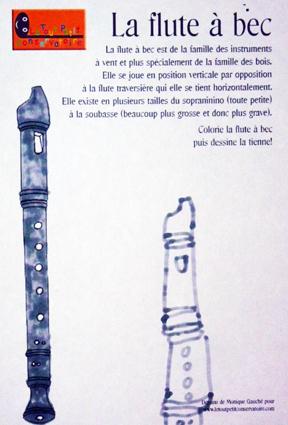 Dessin flute bec le tout petit conservatoire eveil - Dessin de flute ...
