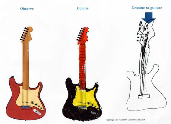 Dessin facile guitare electrique - Comment dessiner une guitare ...
