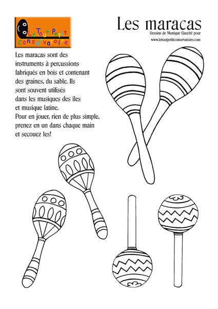 Dessin Coloriage De Maracas Instrument à Percussions