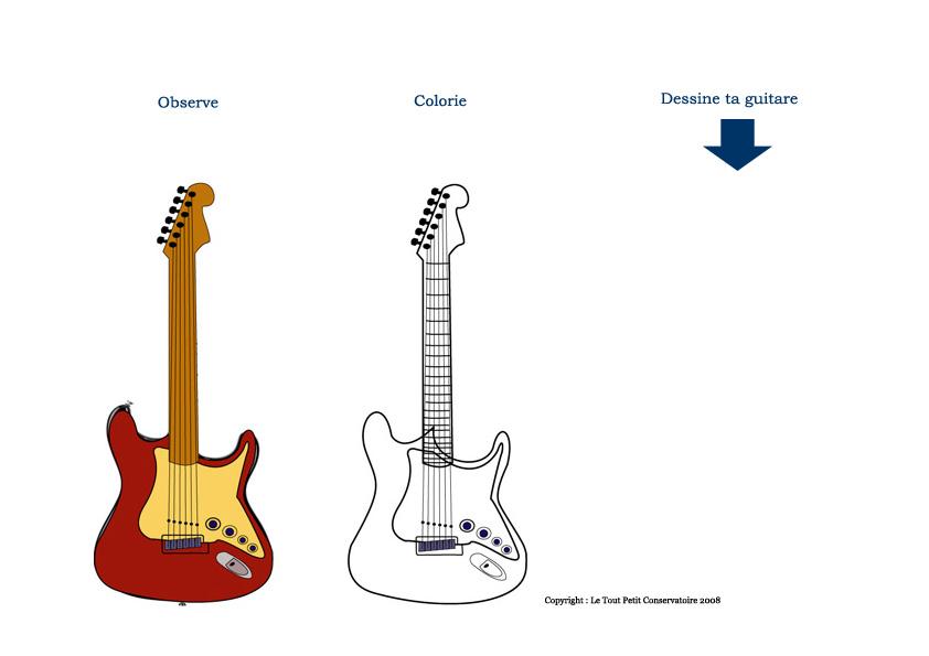 apprendre a dessiner une guitare. Black Bedroom Furniture Sets. Home Design Ideas