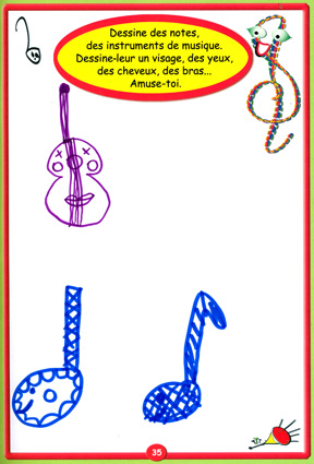 Dessin guitare et notes