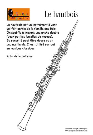 Coloriage dessin du hautbois instrument de musique vent veil musical ludique - Image instrument de musique a colorier ...