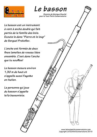 Coloriage dessin du basson instrument de musique vent - Coloriage pierre et le loup ...