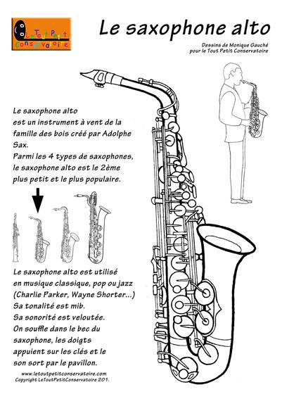 Coloriage du saxophone alto dessin du saxophone alto - Dessin saxophone ...